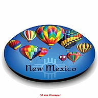 Magnet. Glass. Round. 50mm. NM. New Mexico. Hot Air Balloon.