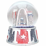 Waterglobe. Glass. 65 mm. GlitterBase. MO. St. Louis. Red and Blue.