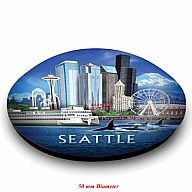 Magnet. Glass. Round. 50mm. WA. Seattle. Icons.