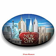 Magnet. Glass. Round. 50mm. NY. New York.