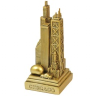 Figure. Polyresin. IL. Chicago. Skyline. Metallic. Gold.