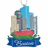 Ornament. Polyresin. MA. Boston. Skyline.