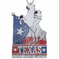 Ornament. Polyresin. GlitterBase. TX. Texas. Red and Blue.