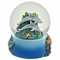 Waterglobe. Glass. 65 mm. High Relief. Dolphin.