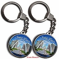 Key Holder. Glass. Round. 30mm. MO. St. Louis.