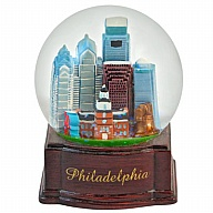 Waterglobe. Glass. 65 mm. Wood Base. PA. Philadelphia.