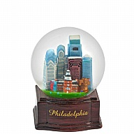 Waterglobe. Glass. 45 mm. Wood Base. PA. Philadelphia.