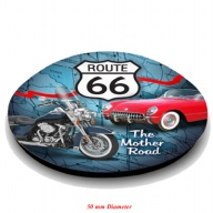 Magnet. Glass. Round.. 50mm. Route 66.