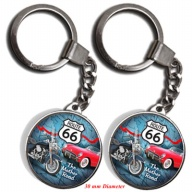 Key Holder. Glass. Round. 30mm. Route 66.