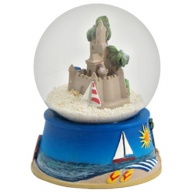Sandglobe. Glass. 65 mm. Sandcastle.