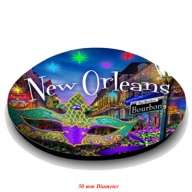 Magnet. Glass. Round. 50mm. LA. New Orleans.