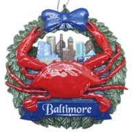 Ornament. Polyresin. Wreath. MD. Baltimore. Crab.