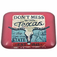 Magnet. Glass. Square. 50mm. TX. Don't Mess with Texas.