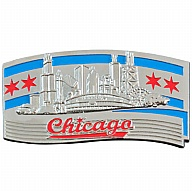 Magnet. Metal. Chrome. Color Fill. IL. Chicago. Flag.