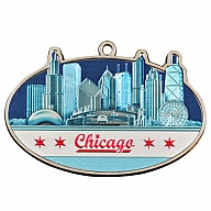 Ornament. Metal. Foil. IL. Chicago. Flag.