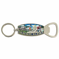 Key Holder. Bottle Opener. Metal. Foil. AK. Skagway.
