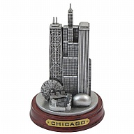 Figure. Polyresin. Wood Base.  IL. Chicago. Pewter Look.