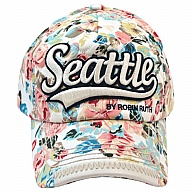 Hat. WA. R.R. Seattle. White. Floral. CSE366-A.