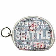 Coin Purse with  Key Holder. Round. WA. R.R. Seattle. Blue. Floral. WSE74102-G.