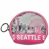 Coin Purse with  Key Holder. Round. WA. R.R. Seattle. Pink. Skyline. WSE74114-P.