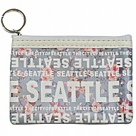 Coin Purse with Key Holder. WA. R.R. Seattle. Blue. Floral. WSE74002-G.