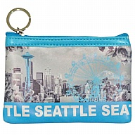 Coin Purse with Key Holder. WA. R.R. Seattle. Blue. Skyline. WSE74014-L.