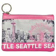Coin Purse with Key Holder. WA. R.R. Seattle. Pink. Skyline. WSE74014-P.