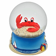 Waterglobe. Glass. 65 mm. Crab. Red.