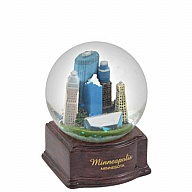 Waterglobe. Glass. 45 mm. Wood Base. MN. Minneapolis.