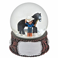 Waterglobe. Glass. 65 mm. Cowboy. Belt Buckle.