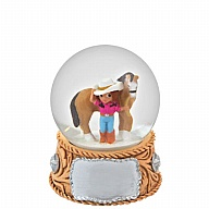 Waterglobe. Glass. 45 mm. Cowgirl. Belt Buckle.