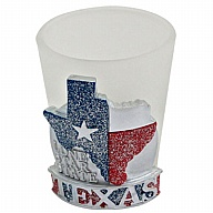 Shot Glass. GlitterBase. TX. Texas. Red and Blue.