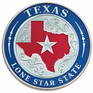Magnet. Metal. Foil. Round. TX. Lone Star State.