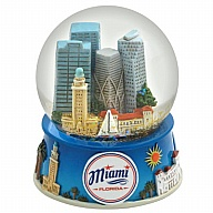 Waterglobe. Glass. 65 mm. FL. Miami. Badge.